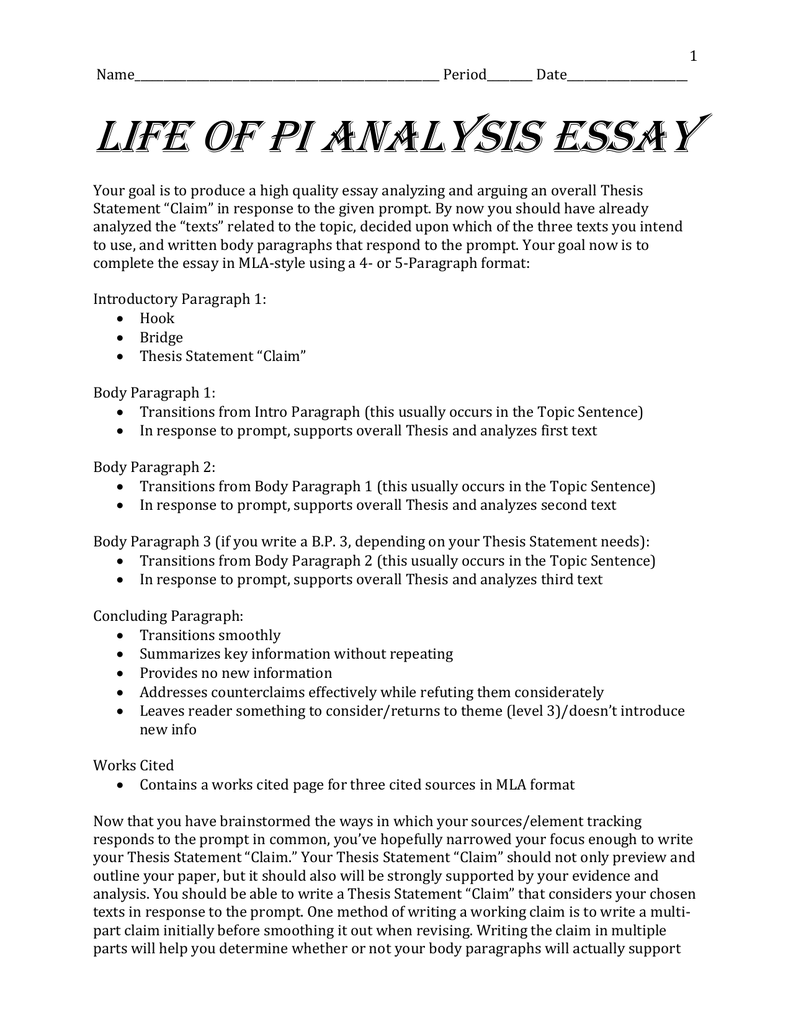 life of pi thesis Thesis statement argumentative compare and contrast log in × scroll to top life of pi essay examples 23 total results a summary of the movie the life of pi.
