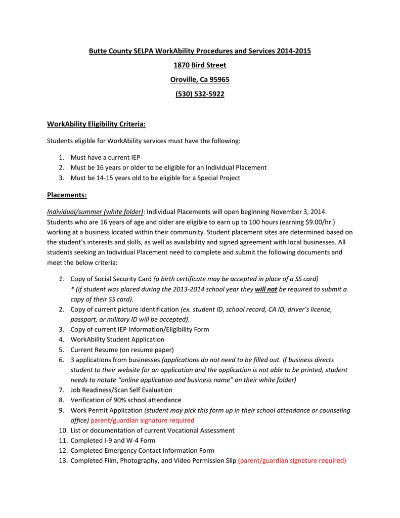 WorkAbility Procedures & Services 2014-2015