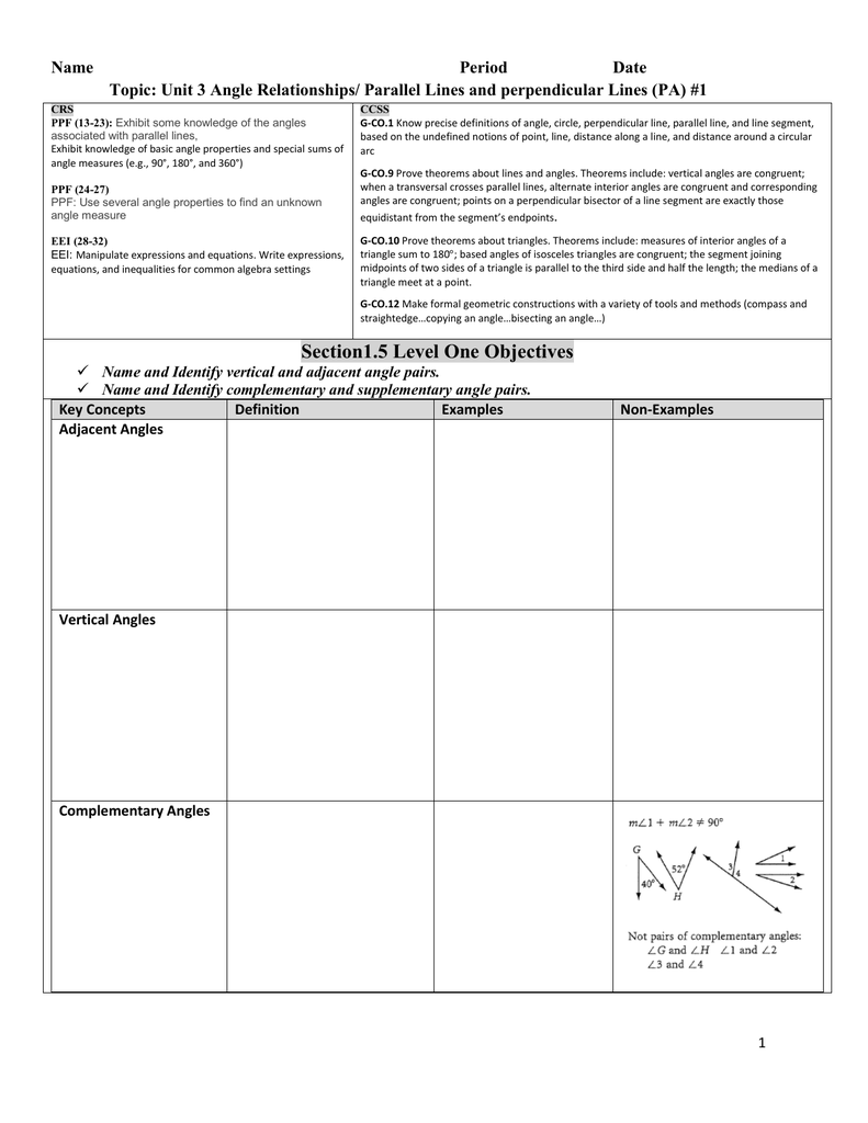 Worksheets Angle Pairs Worksheet 1pg 42 11 16 2 angle pair relationships practice worksheet 1 1