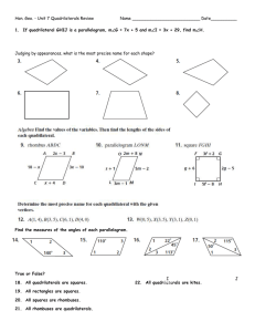 Geometry * Chapter 6 Test * Quadrilaterals