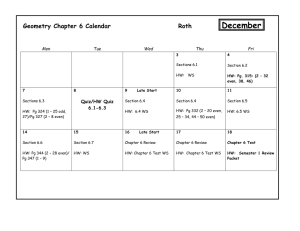 Chapter 6 Assignment Calendar