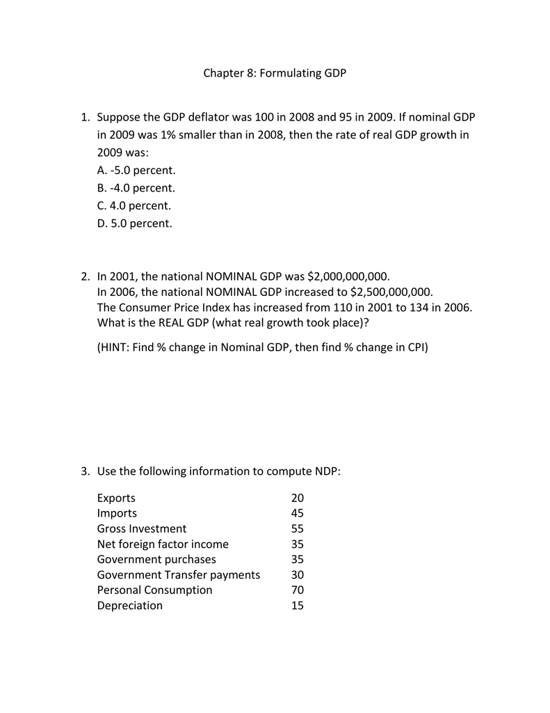 chapter 8 formulating gdp suppose the gdp deflator was 100 in