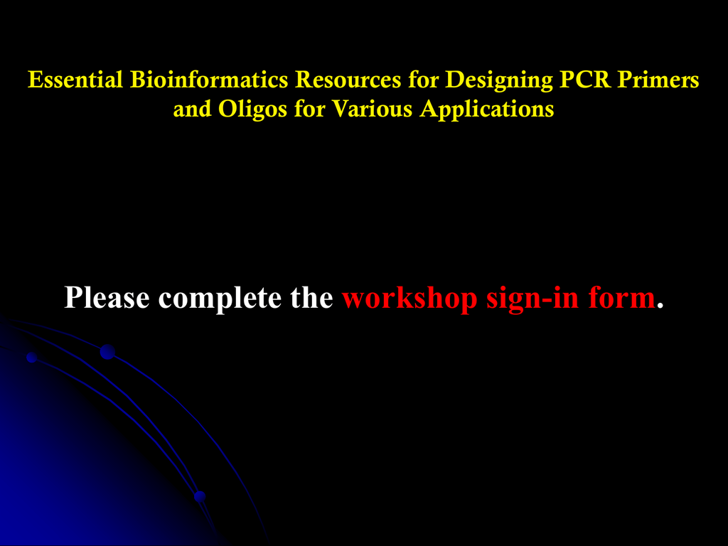 Pcr Primer Design Workshop V1 2
