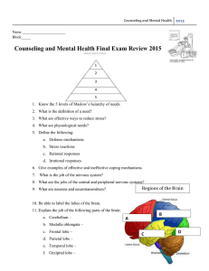 Counseling and Mental Health Final Exam Review 2015