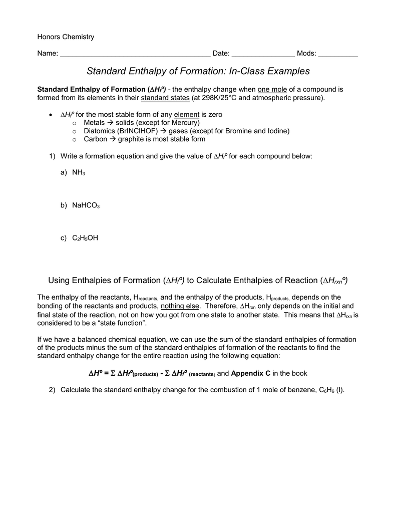 Printables Of Thermochemistry Standard Heats Of Formation Worksheet