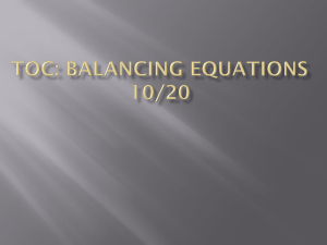 TOC: Balancing Equations 10/20