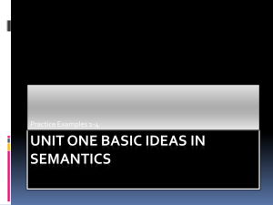 Unit One Basic Ideas in Semantics