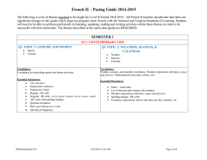 French II – Pacing Guide 2014