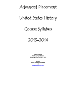 Advanced Placement United States History Course Syllabus 2013