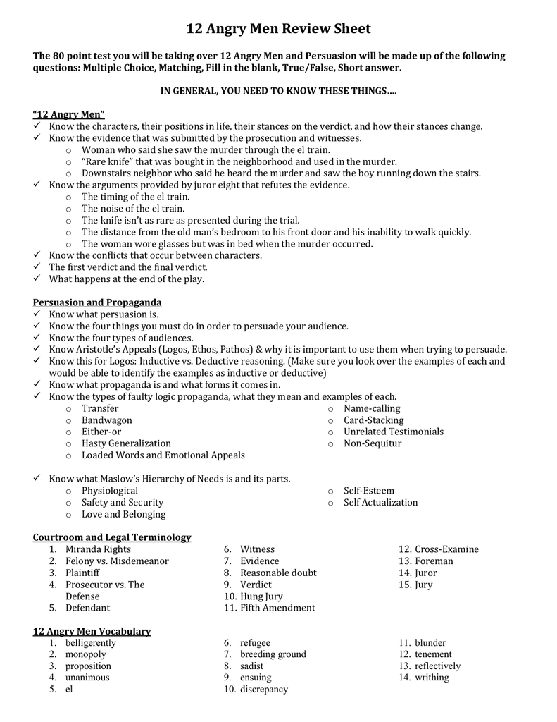 angry men test review sheet