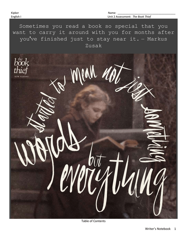 the book thief writer s notebook