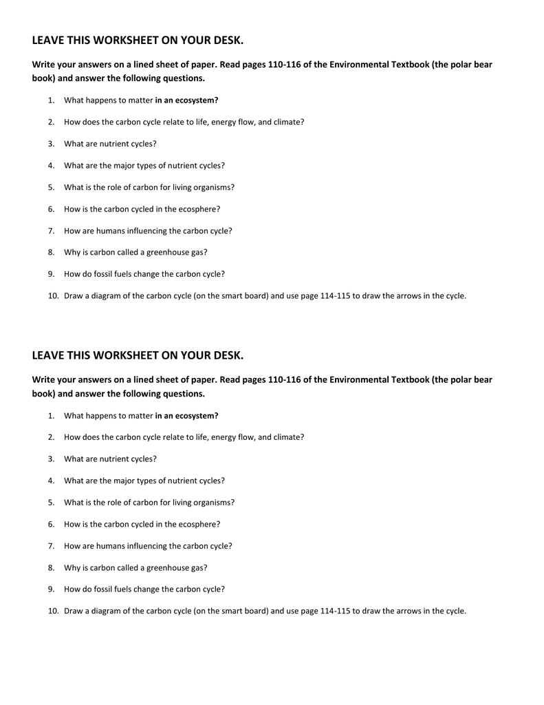 worksheet Cycles Of Matter Worksheet carbon cycle assignment
