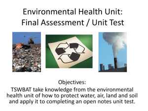 Environmental Health Unit: Final Assessment / Unit Test