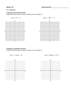 Algebra 2H Mathematician: 7.1_7.3 Review Graphing Exponential