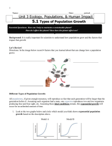 Exponential vs. Logistic Growth Note Packet - E
