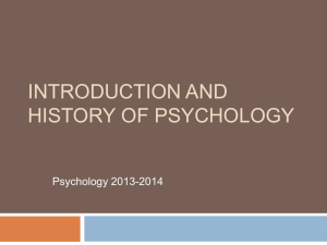 Introduction and History of Psychology Chapter 1