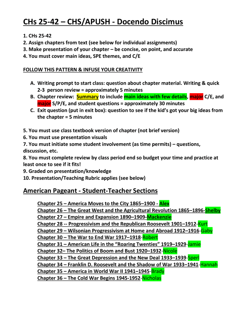 APUSH-CHs 25-42 student teacher - apush