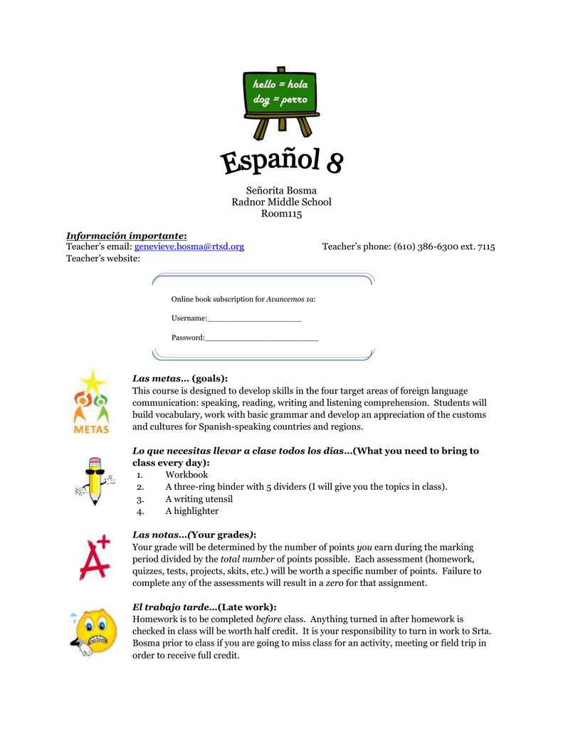 8th Grade Spanish Course Description