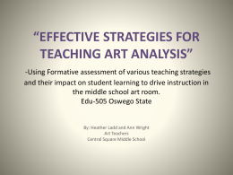 Effective Stratagies for Teaching Art Analysis
