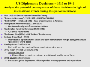 The Evolution of U.S. Foreign Policy - 1920-1941