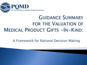 Guidance Summary for the Valuation of Medical Product Gifts -In