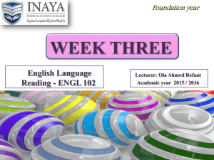 Week Three - INAYA Medical College