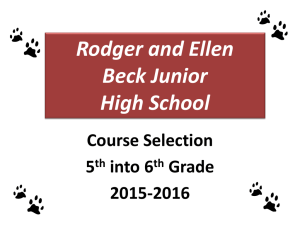 BJH 5th going into 6th Grade course selection 2015-16
