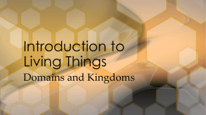 Domains and Kingdoms Introduction to Living Things Today, a three