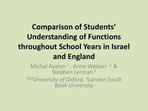 Comparison of Students' Understanding of Functions Israel/England