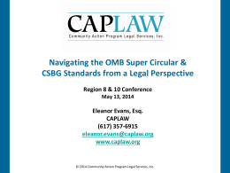 OMB Super Circular & CSBG Standards with Eleanor Evans, CAPLAW