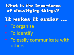 What is the importance of classifying things?