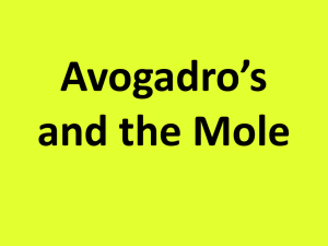 Topic 4 Avogadro's and the Mole