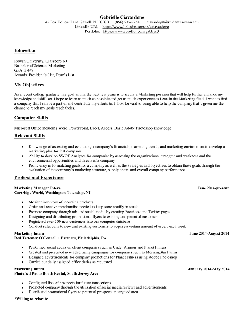Gabrielle Ciavardone Resume And Cover Letter