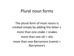 Plural noun forms powerpoint for esl november