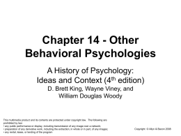 Chapter 14 - Other Behavioral Psychologies