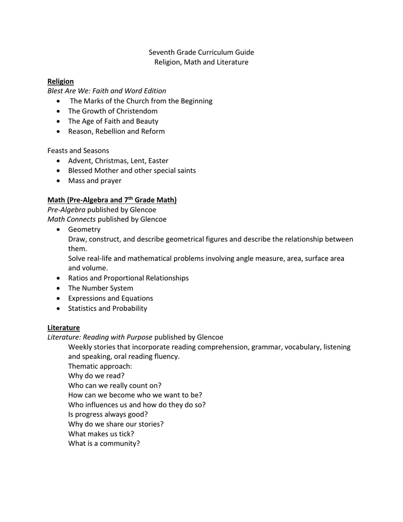 Seventh and Eighth Grade Curriculum Guide