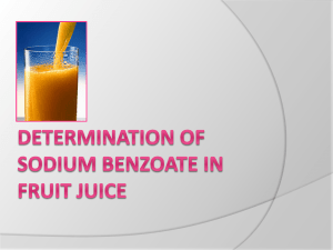 determination of sodium benzoate in fruit juice