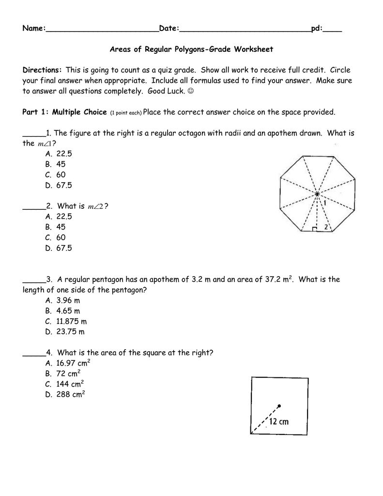 worksheet Area Of A Polygon Worksheet name areas of regular polygons
