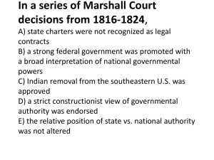 In a series of Marshall Court decisions from 1816