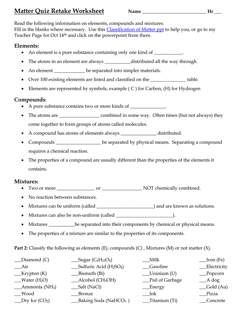 Elements compounds and mixtures worksheet answers pdf