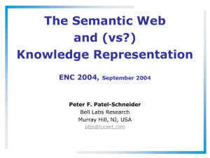 The Semantic Web and Knowledge Representation - ECT