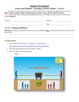 Activity: Phet Forces and Motion Basics