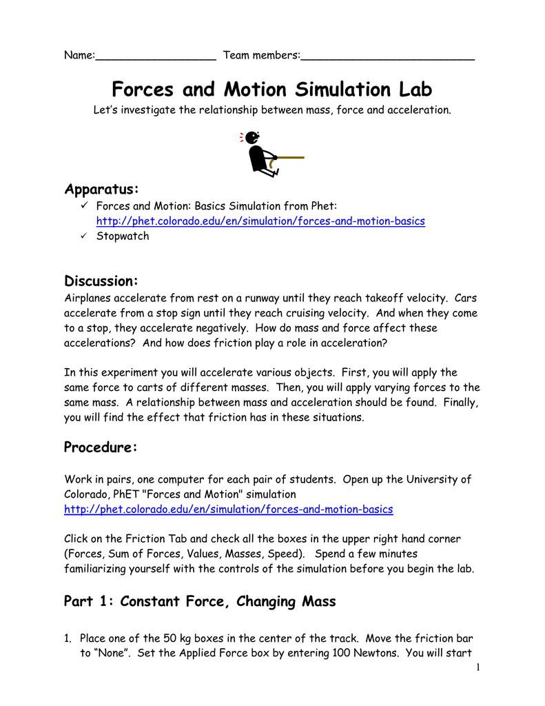 worksheet Force And Motion Worksheet motion and forces lab