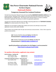 Nez Perce-Clearwater National Forests Northern Region Outreach
