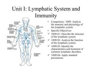Unit I: Lymphatic System and Immunity