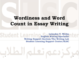 Wordiness and Word count in Essay Writing