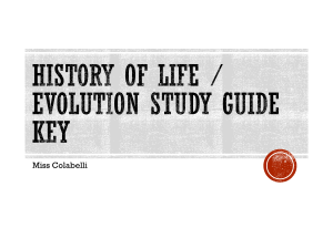 History of Life / Evolution Study Guide KEY