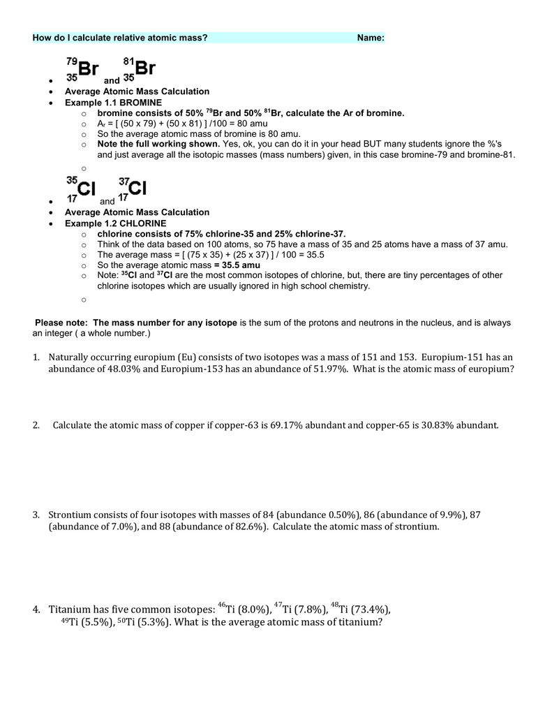 How do I calculate relative atomic mass – Calculating Atomic Mass Worksheet
