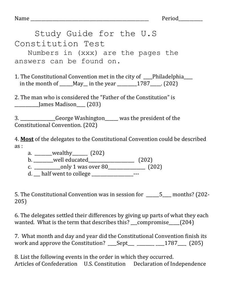 worksheet Constitutional Convention Worksheet constitution test study guide with answers