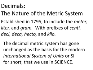 metric measurments and lab equipment